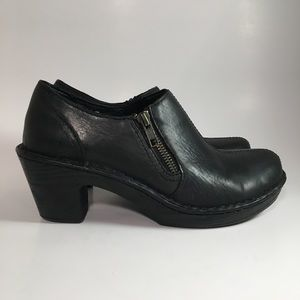 Born Black Leather Side Zip Ankle Bootie